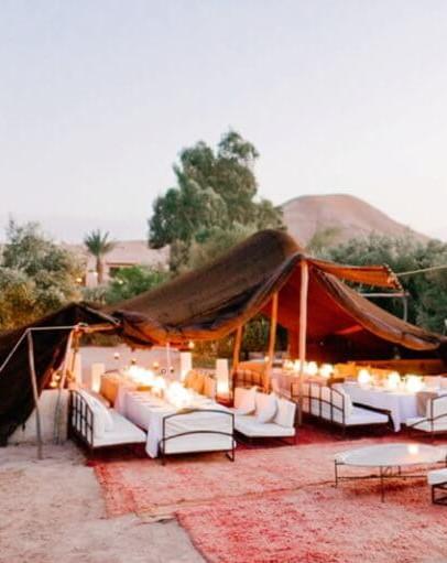 Déjeuner dans le désert d'Agafay