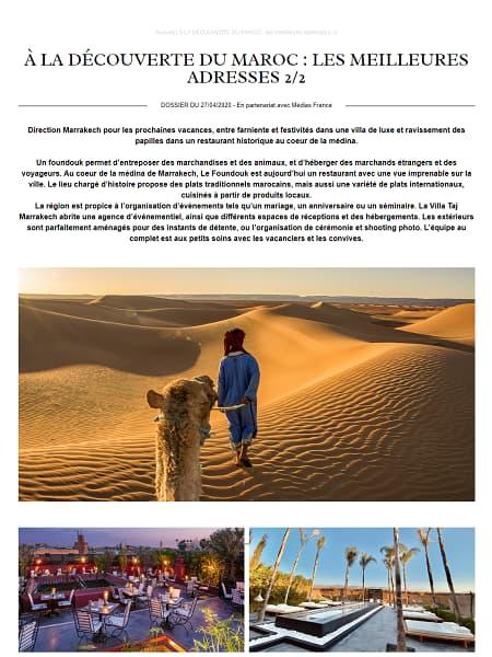 À la découverte du Maroc les meilleures adresses