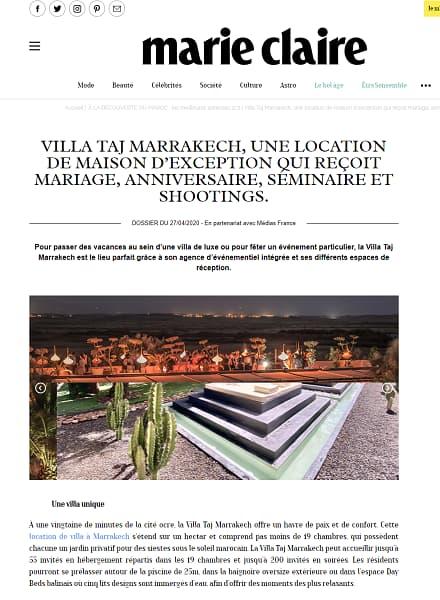 Villa Taj Marrakech, une location de maison d'exception qui reçoit mariage, anniversaire, séminaire et shootings