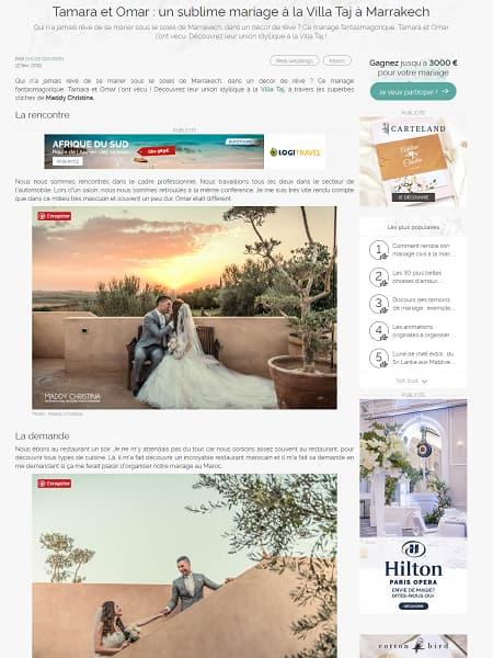 Tamara et Omar un sublime mariage à la Villa Taj à Marrakech