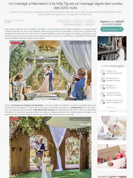 Un mariage à Marrakech à la Villa Taj est un mariage digne des contes des 1001 nuits