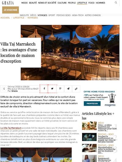 Grazia parle de la Villa Taj Marrakech