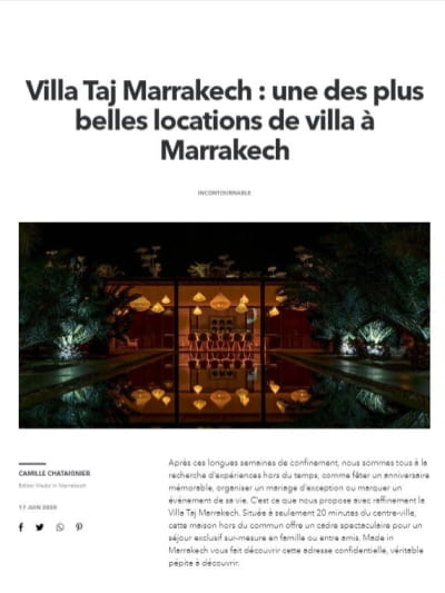 Article Made in Marrakech sur la maison de location Villa Taj