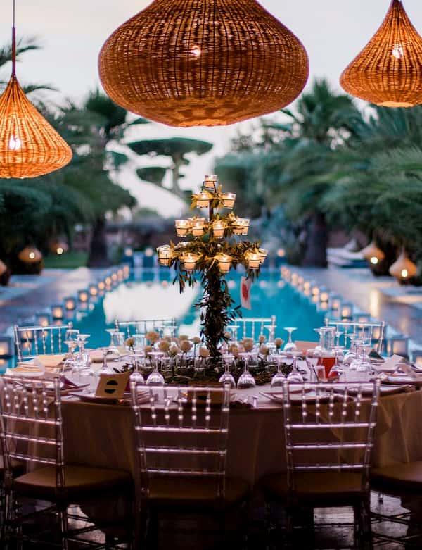 Diner d'un mariage organisé à Marrakech