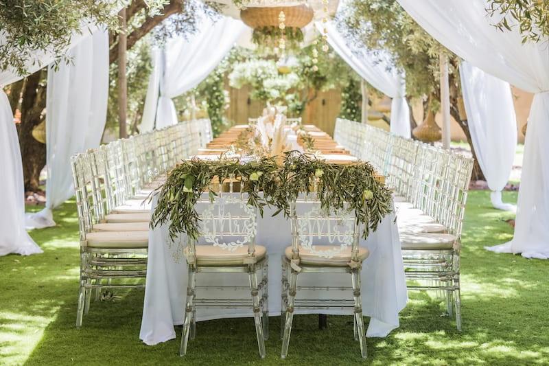 La table d'un hôtel pour mariage à Marrakech