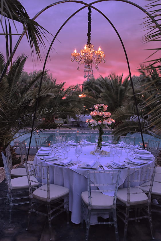 Crépuscule dans une location villa Marrakech avec piscine