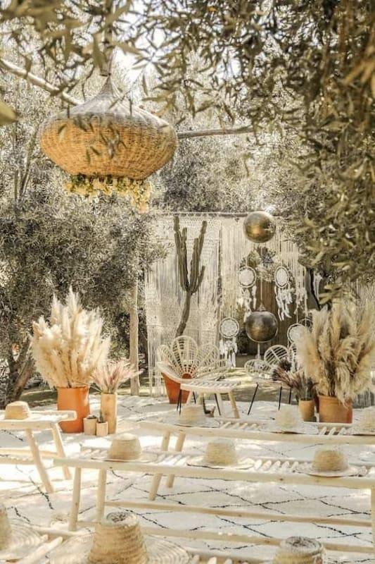 Jardin pour un mariage bohème à Marrakech